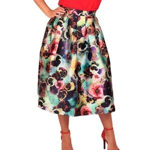 San Joy floral slightly pleated circle midi skirt